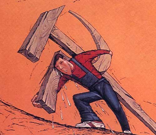 o calvário de carregar com o martelo e a foice