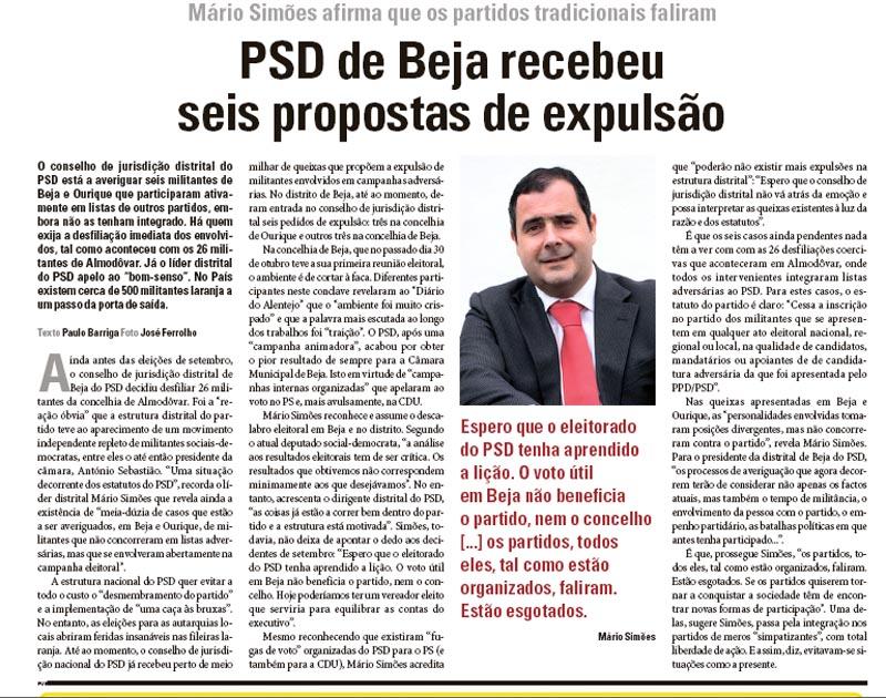 psd beja expulsa Diário Alentejo 15nov2013